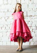 малиновое платье на девочку - нарядное, атласное