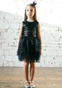 Чорна сукня на дівчинку з чорними паєтками