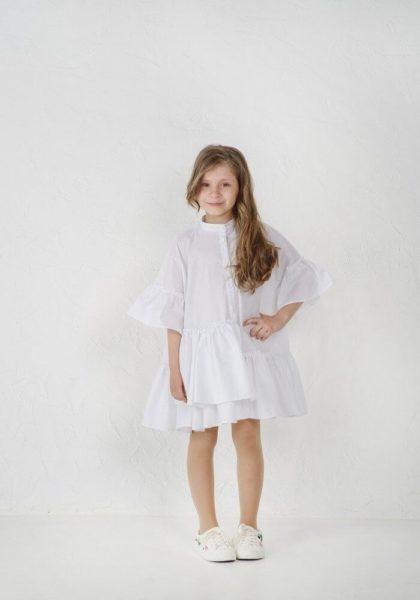Белое платье с котона на девочку летнее