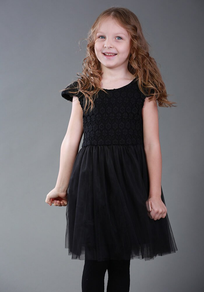 b496c8213854a8 Black dress with lace and skirt - Malyna
