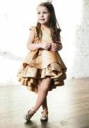 Атласне нарядне плаття на дывчинку золотого кольору