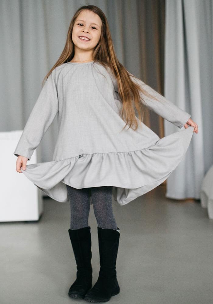 """Сукня """"Волан"""" з льону на довгий рукав - Malyna 5f1d7cc372d2a"""