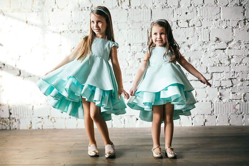 Нарядные платья на девочек мятного цвета - интернет магазин деских нарядных платьев Malyna