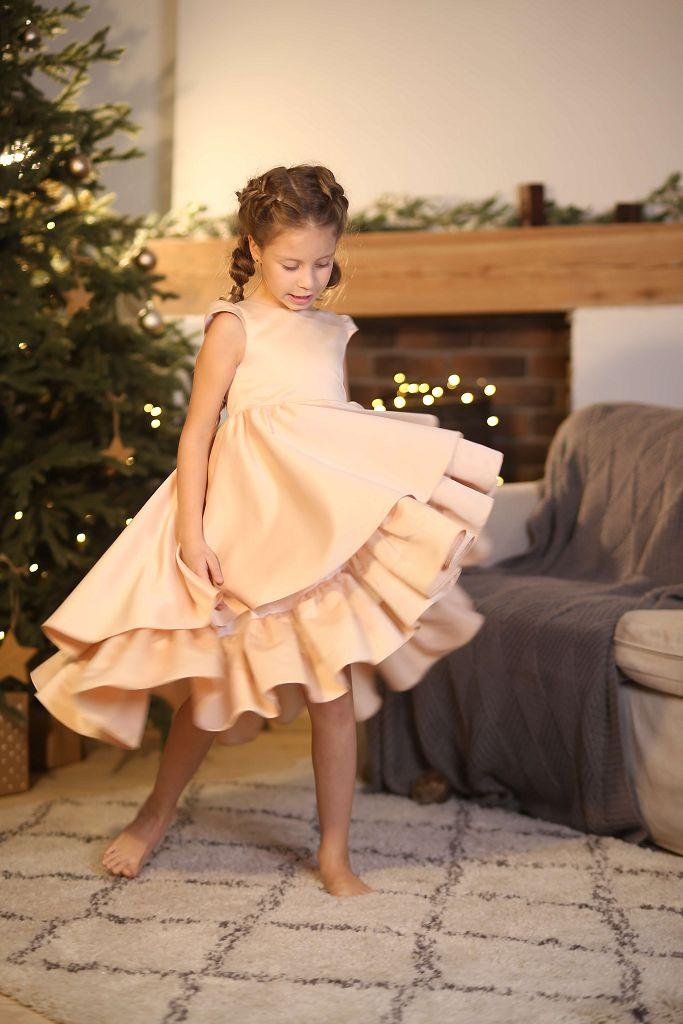 золотистое платье на девочку с воланами - выбрать цвет в интернет магазине Малина