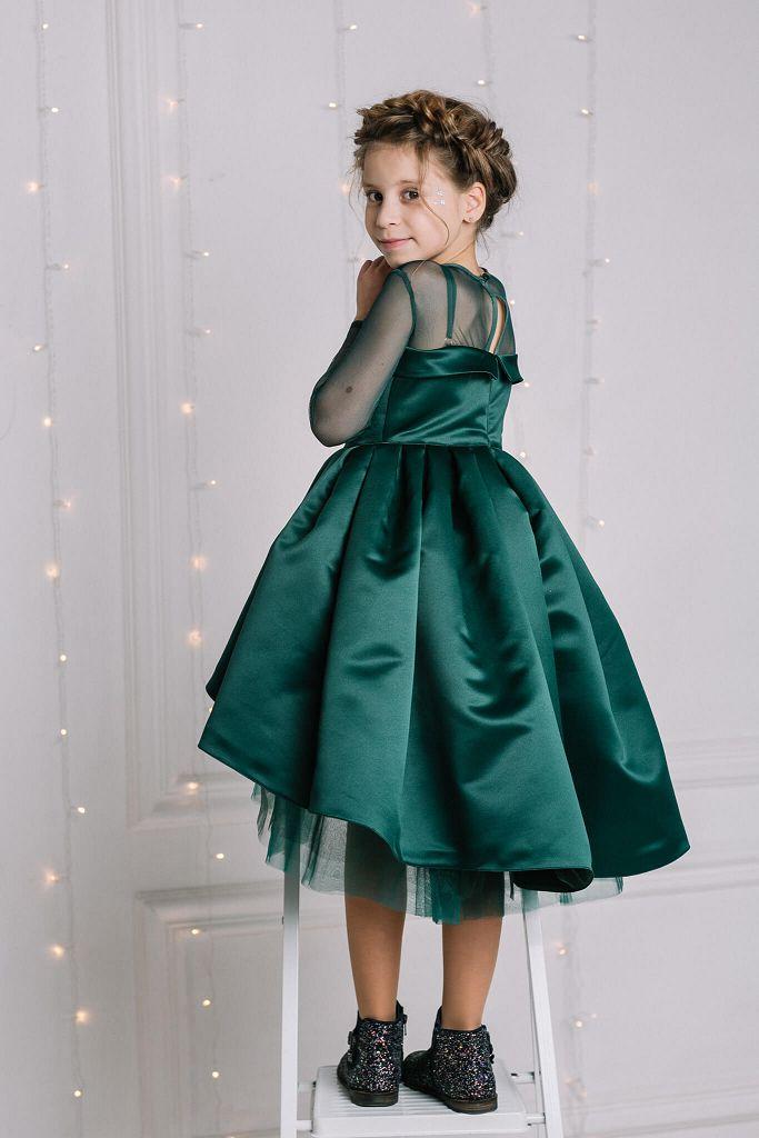 темнозеленое нарядное платье на девочку красивого покроя от Malyna