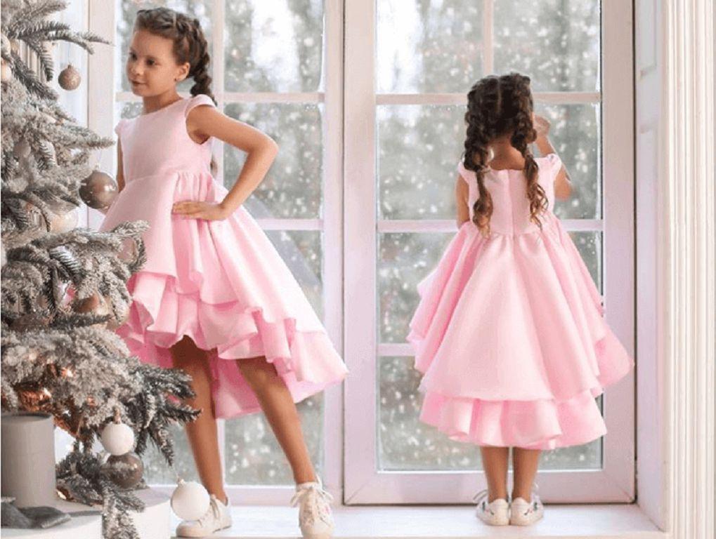 розовое нарядное платье на девочку с воланами - купиь в интернет магазине платьев