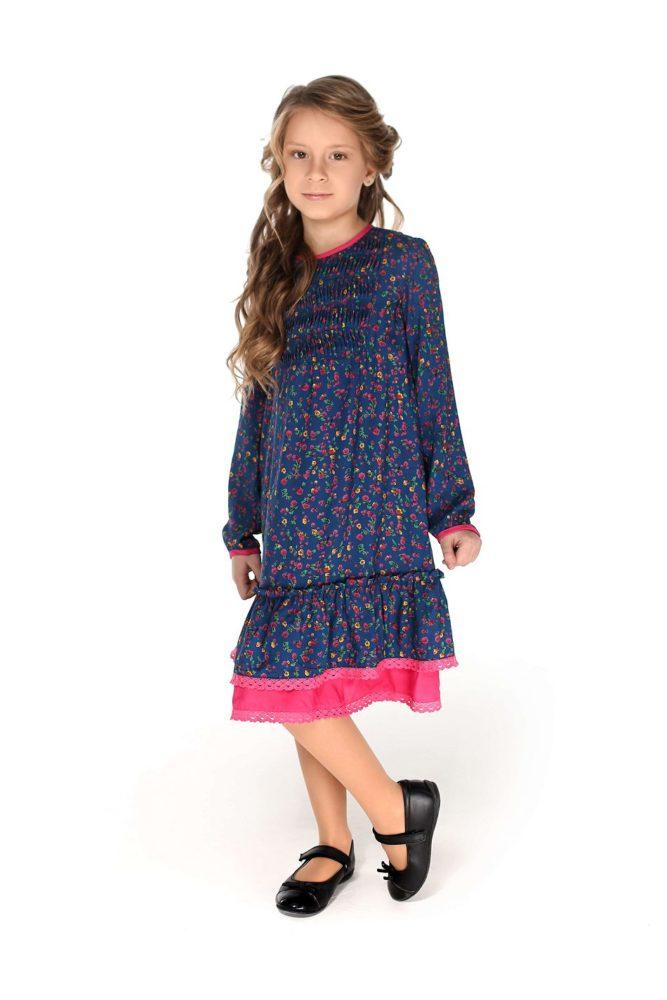 Сукня синя з рожевим для дівчинки - онлайн магазин дитячих суконь