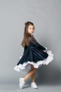 Темное школьное платье с белыми манжетами на девочку - интернет магазин школьной формы Malyna.ua