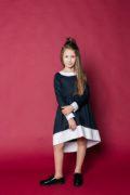 Красивое платье в школу - темно синее с белыми манжетами - для девочек 4-12 лет