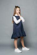 Одежда для школы на девочек - синий школьный сарафан