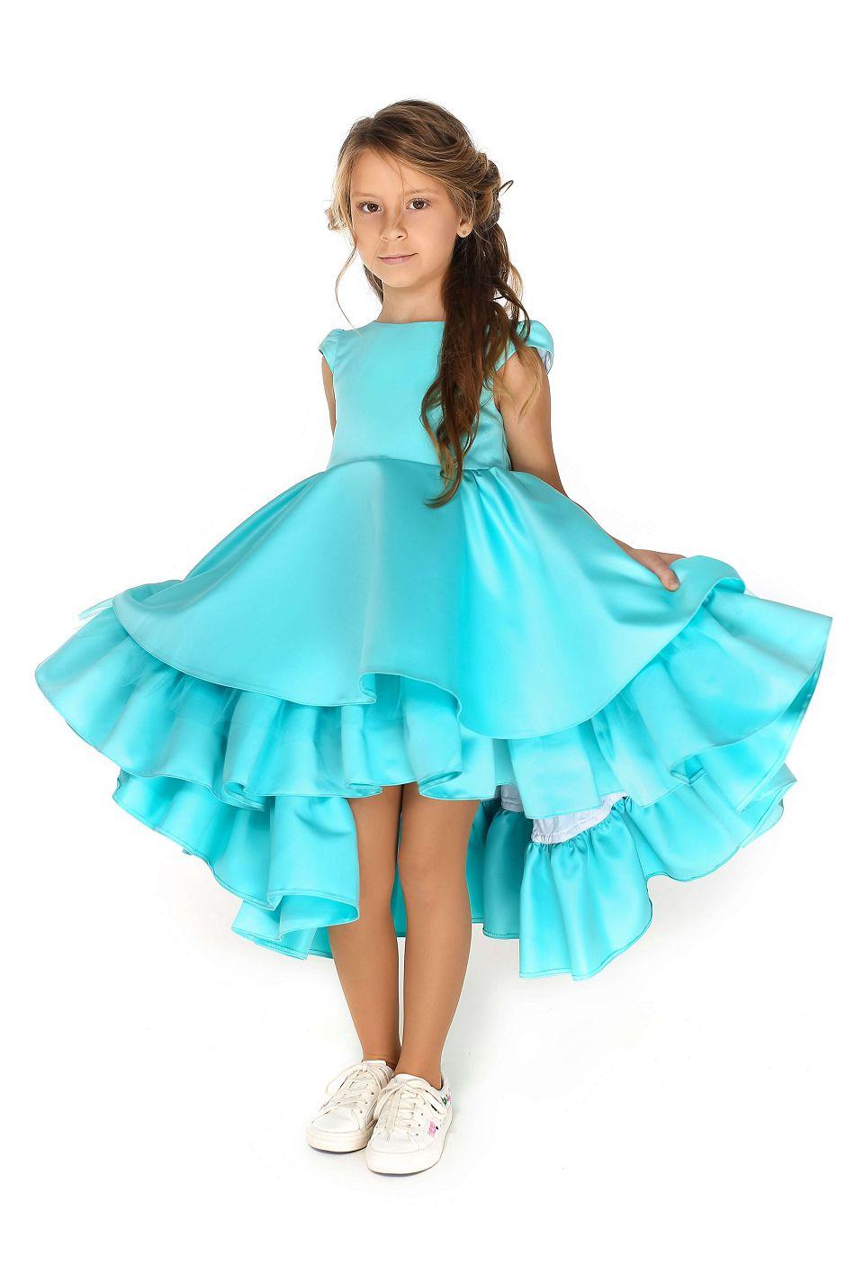 Нарядное голубое платье на девочку до 12 лет