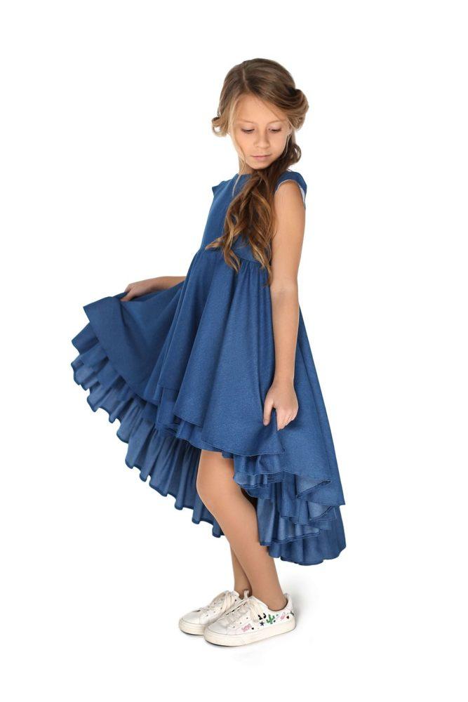 Джинсова нарядна сукня на дівчинку