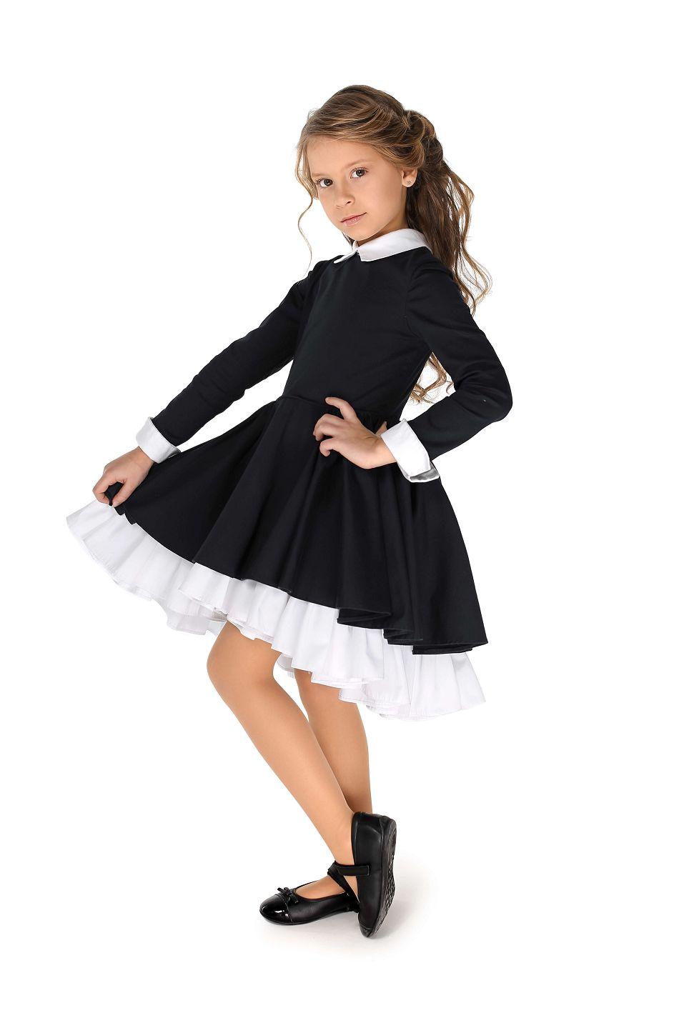 Чорна з білим шкільна сукня для дівчинки