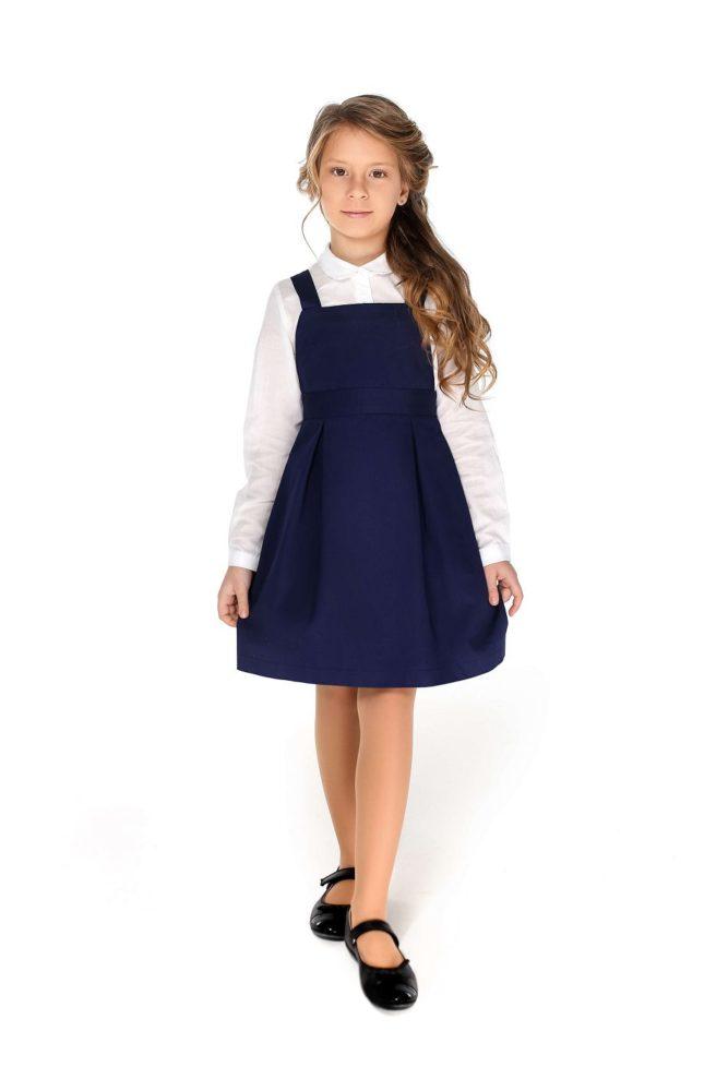 синий сарафан на девочку деловой в школу