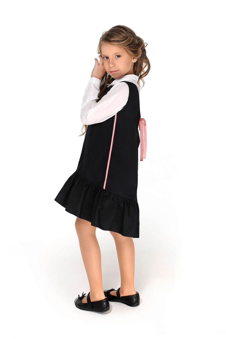 синій та чорний сарафан дівчинці в школу від Malyna