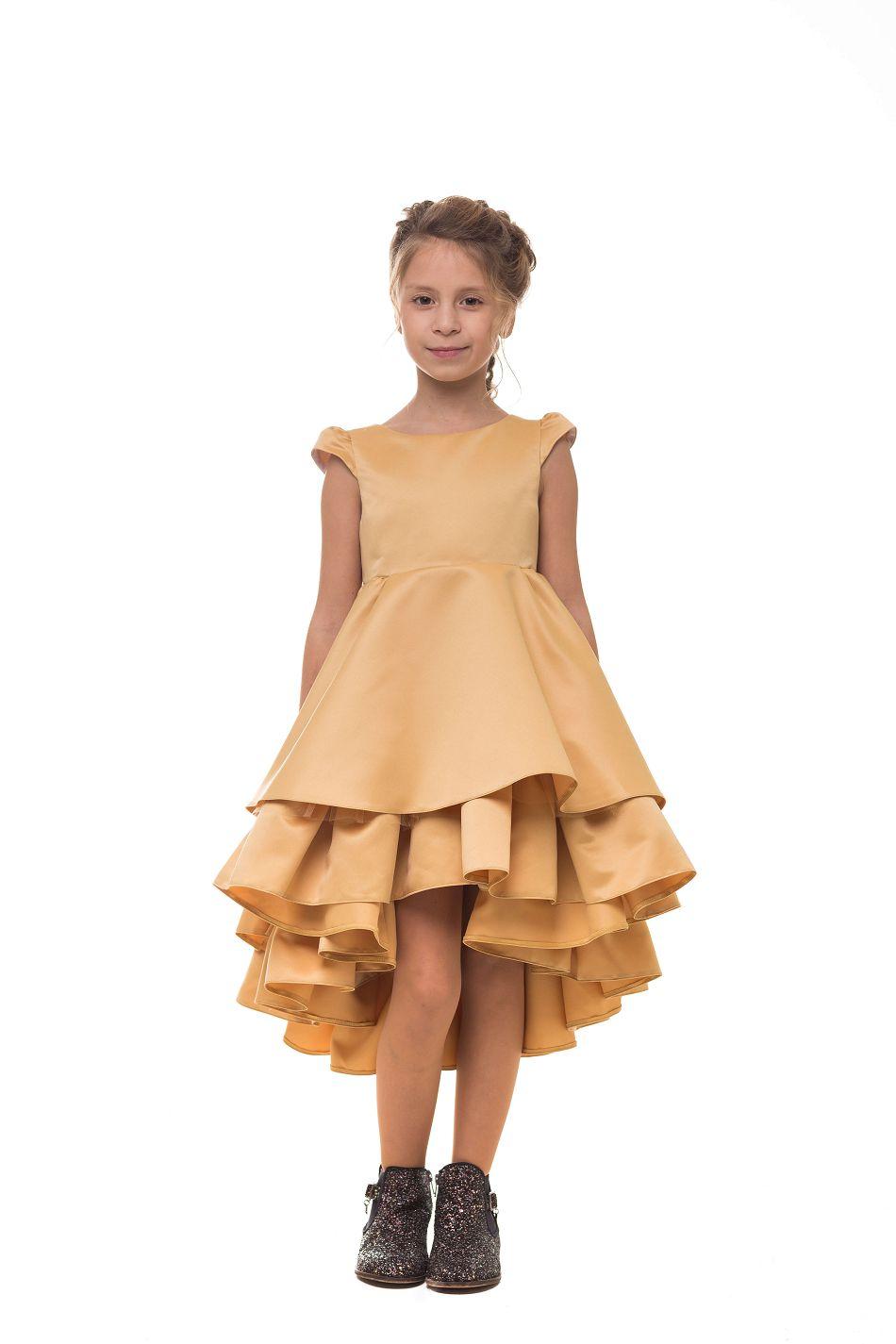красивое нарядое платье девочке золотое
