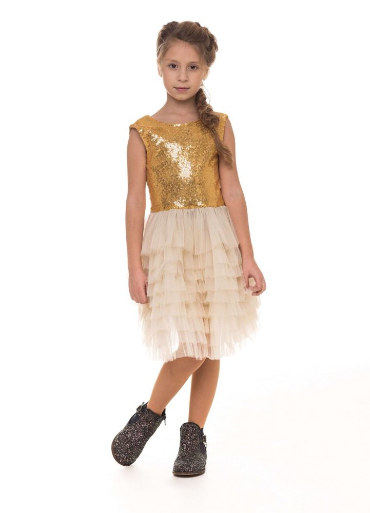 Золотиста сукня на дівчинку святкова