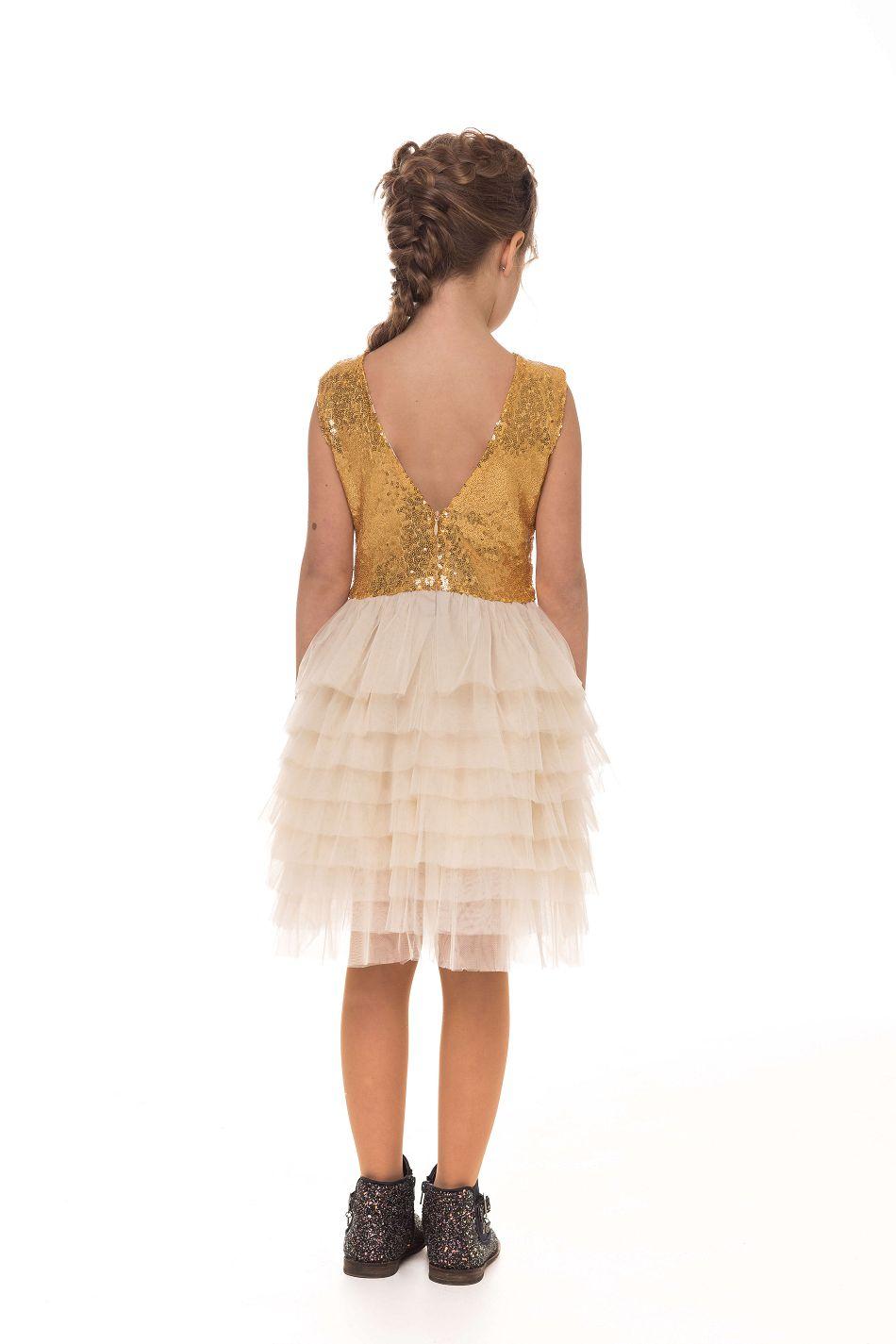 Святкове золоте плаття на дівчинку з блискітками