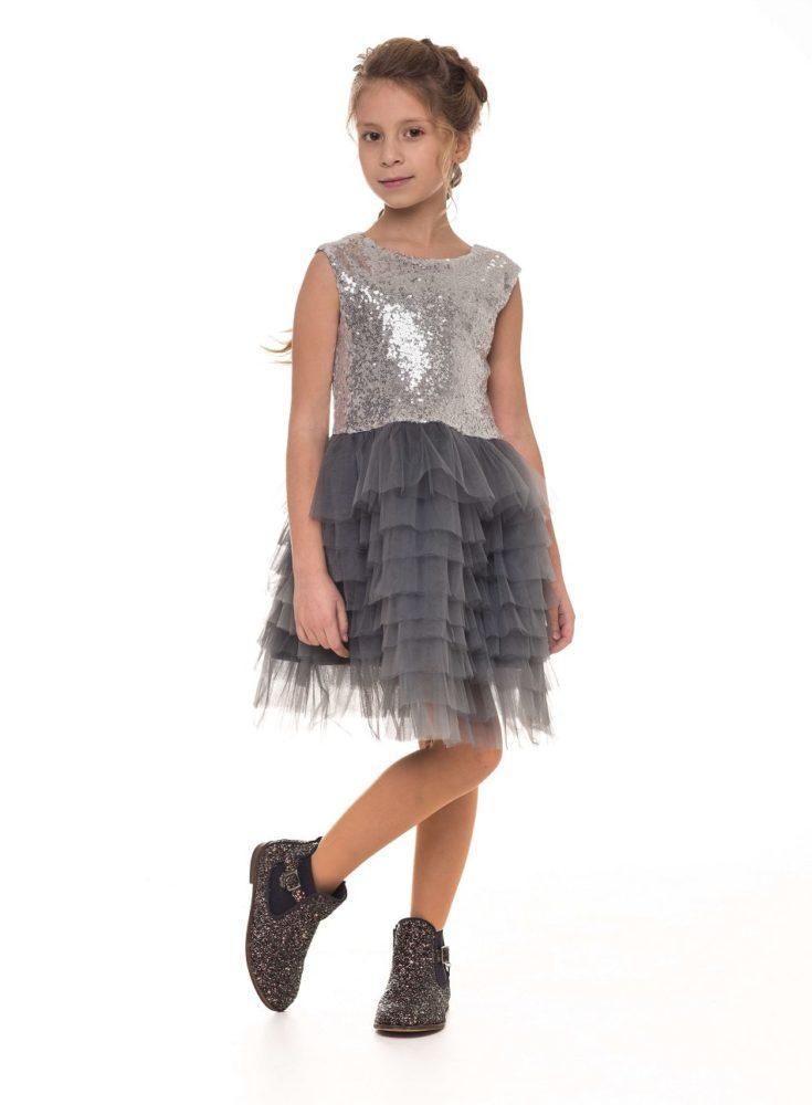 Очаровательное нарядное платье с паетками серое для девочки Malyna