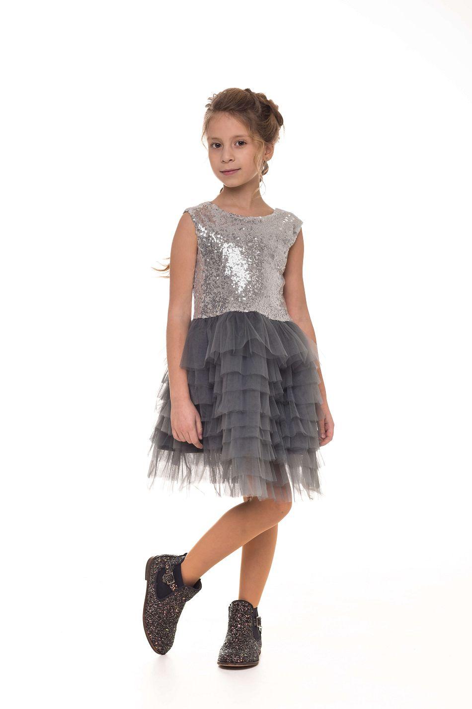 Серое нарядное платье на девочку с блестками