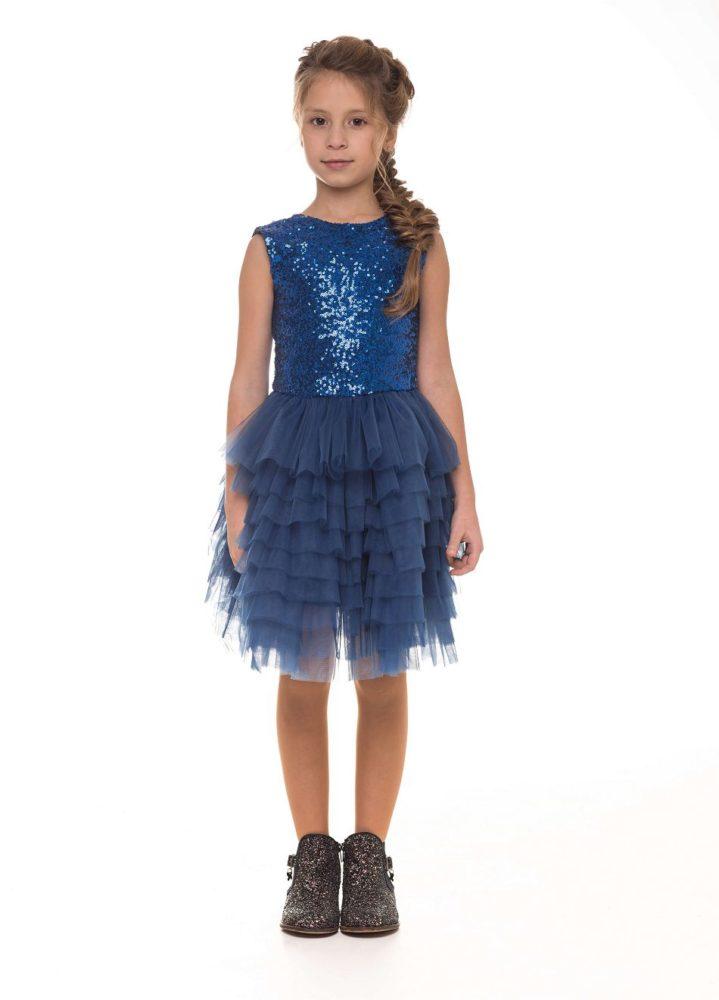 Чарівна синя сукня з блискітками на дівчинку Malyna