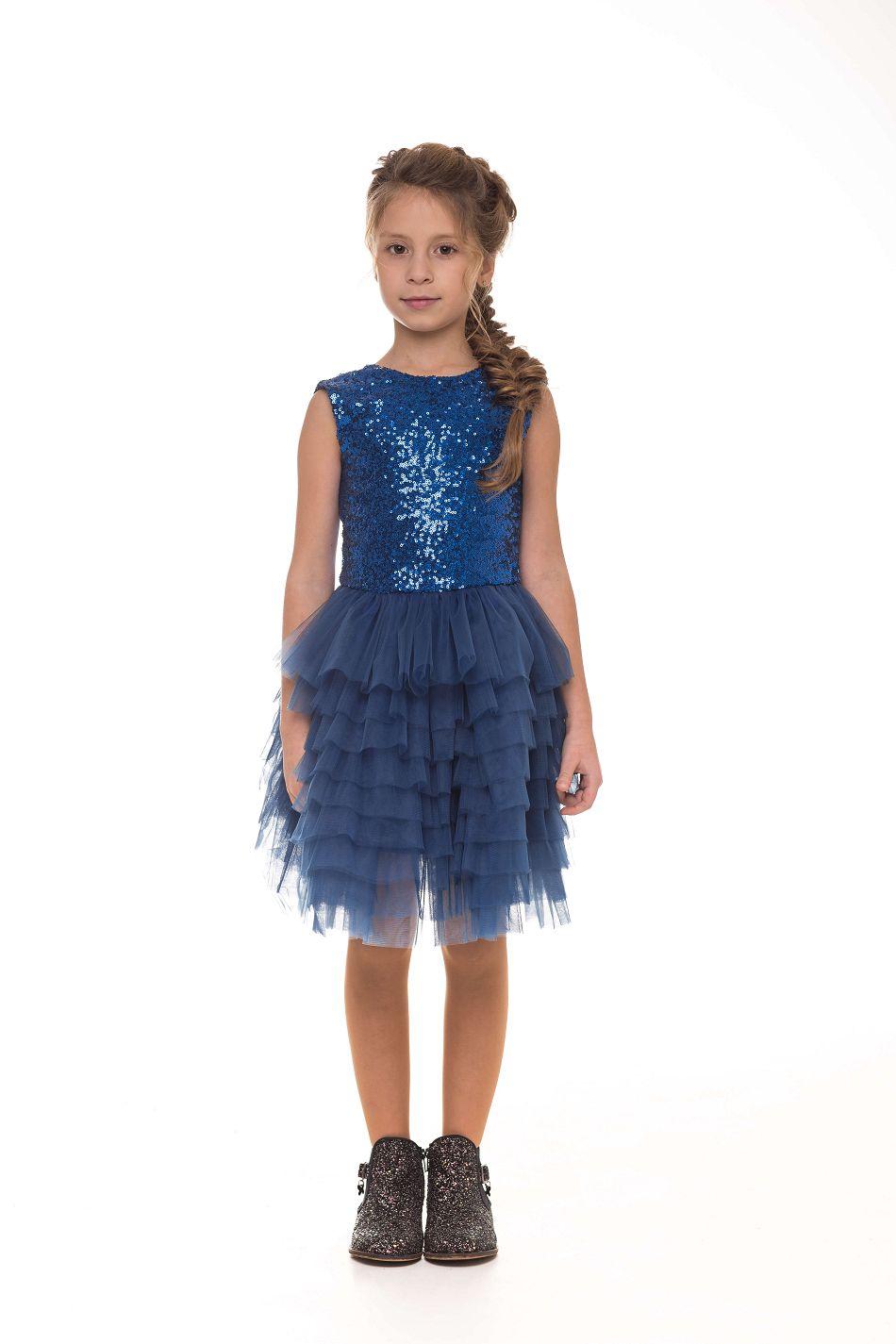 Синее нарядное платье на девочку