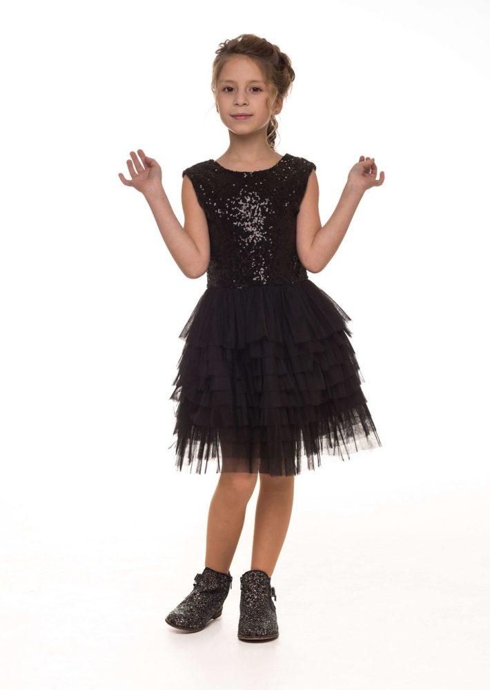 Нарядное черное платье на девочку с блестками от Malyna