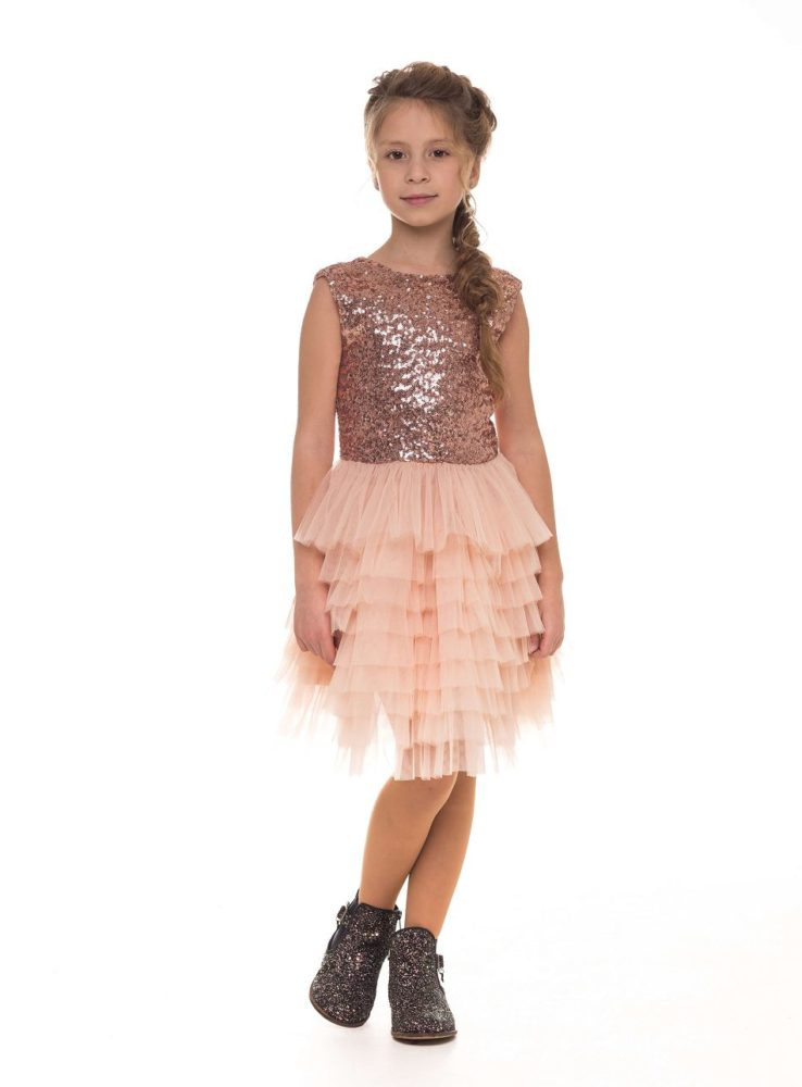 Красивое платье цвета пудры на девочку с блестками от Malyna