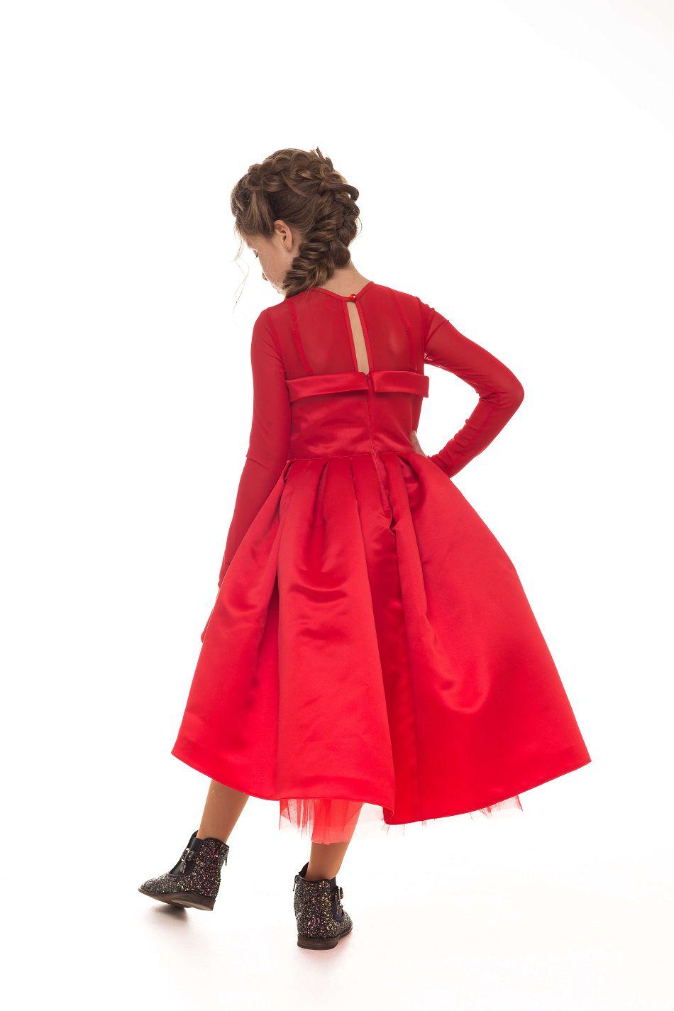 дизайнерское платье девочке красное