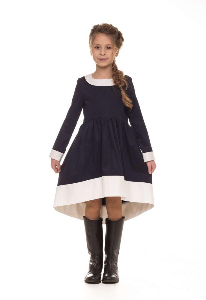 Синее платье на девочку в школу от Malyna