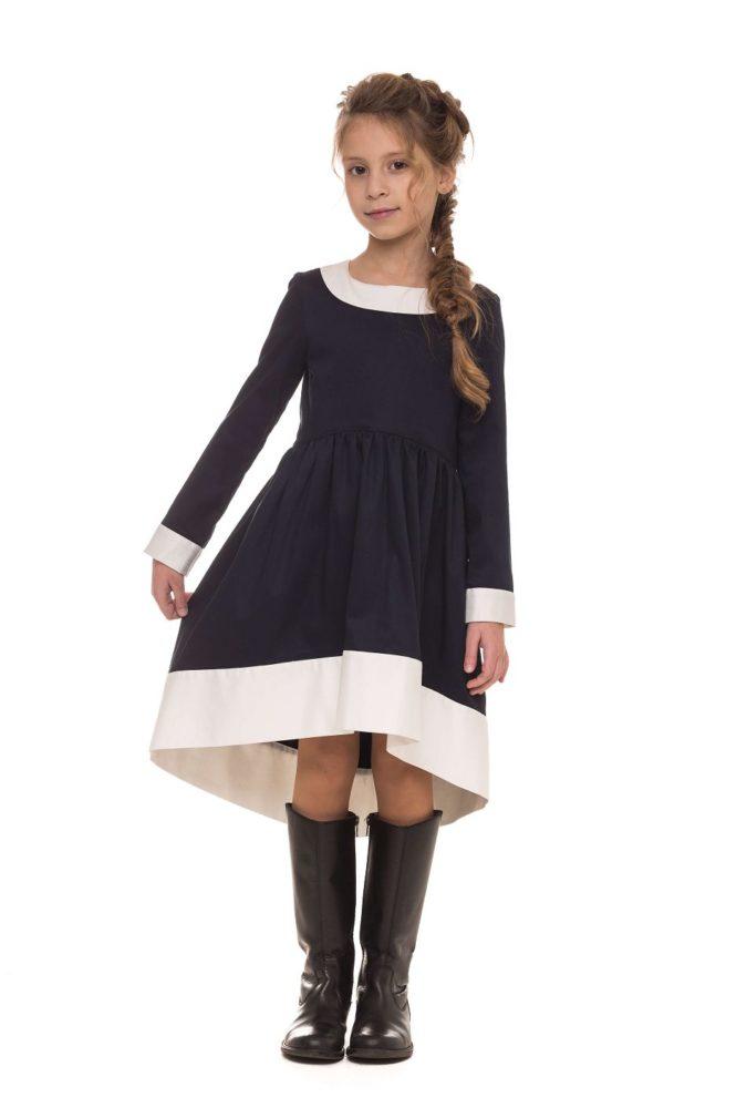 Качественное платье в школу черного цвета для девочки от Malyna