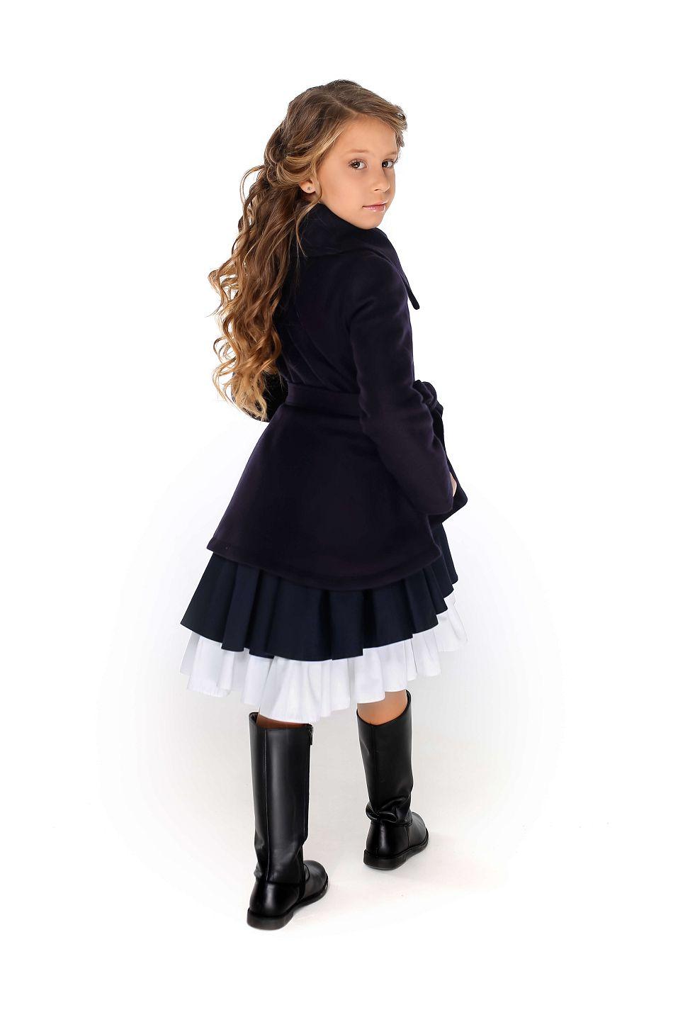 пальто на девочку синее