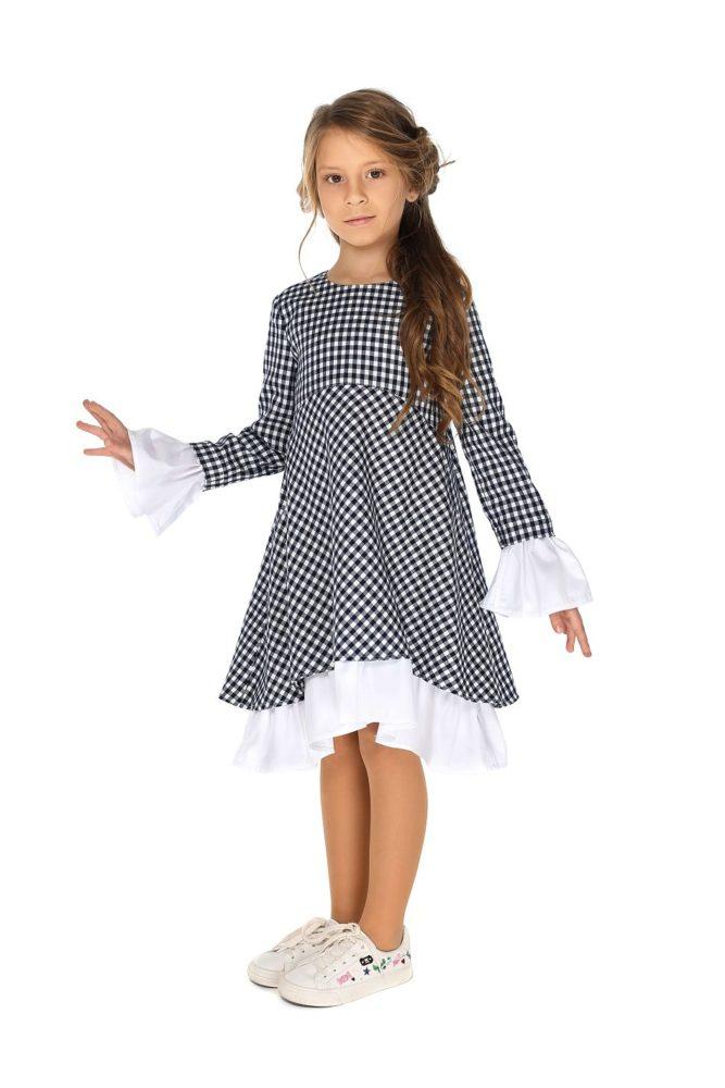 Платье в школу в клеточку на девочку