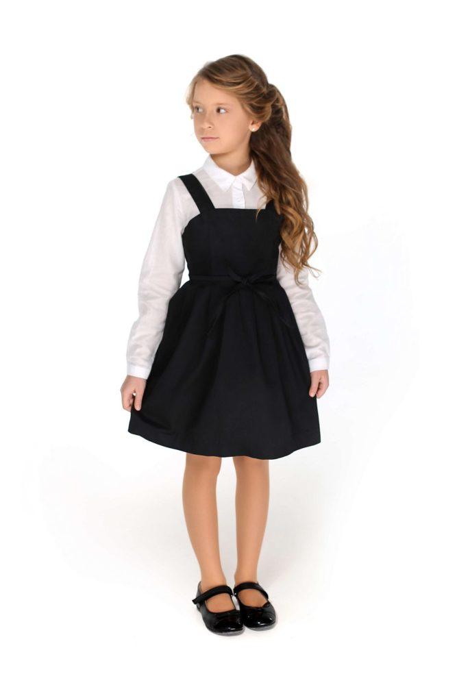 черный школьный сарафан девочке