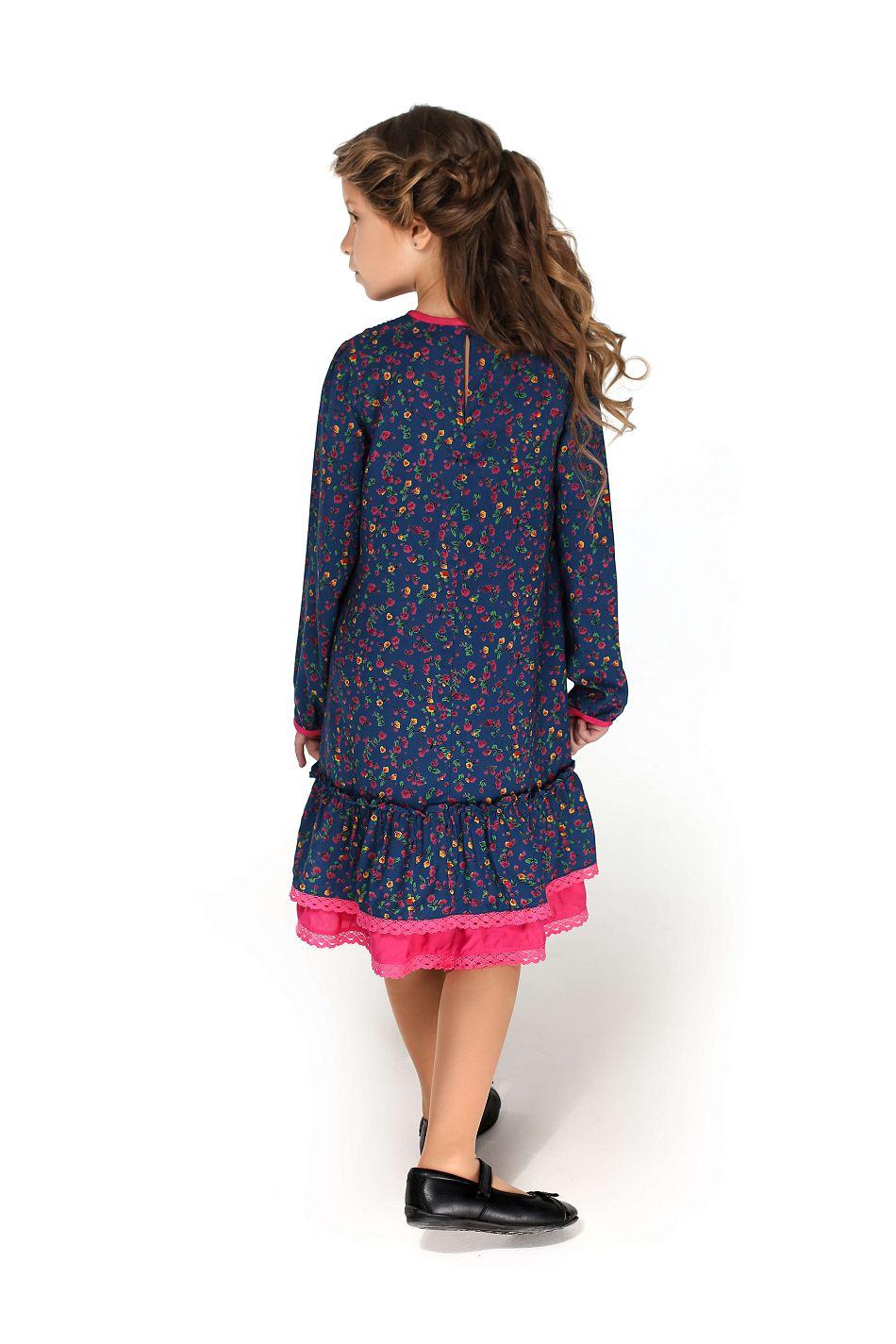 синя щоденна сукня для дівчинки