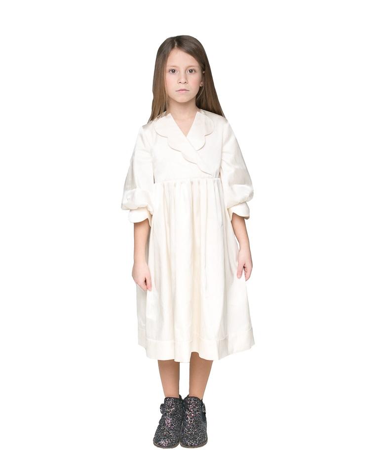 Изысканное платье для девочки молочного цвета от бренда Malyna ... 0f8c5d6ae562f