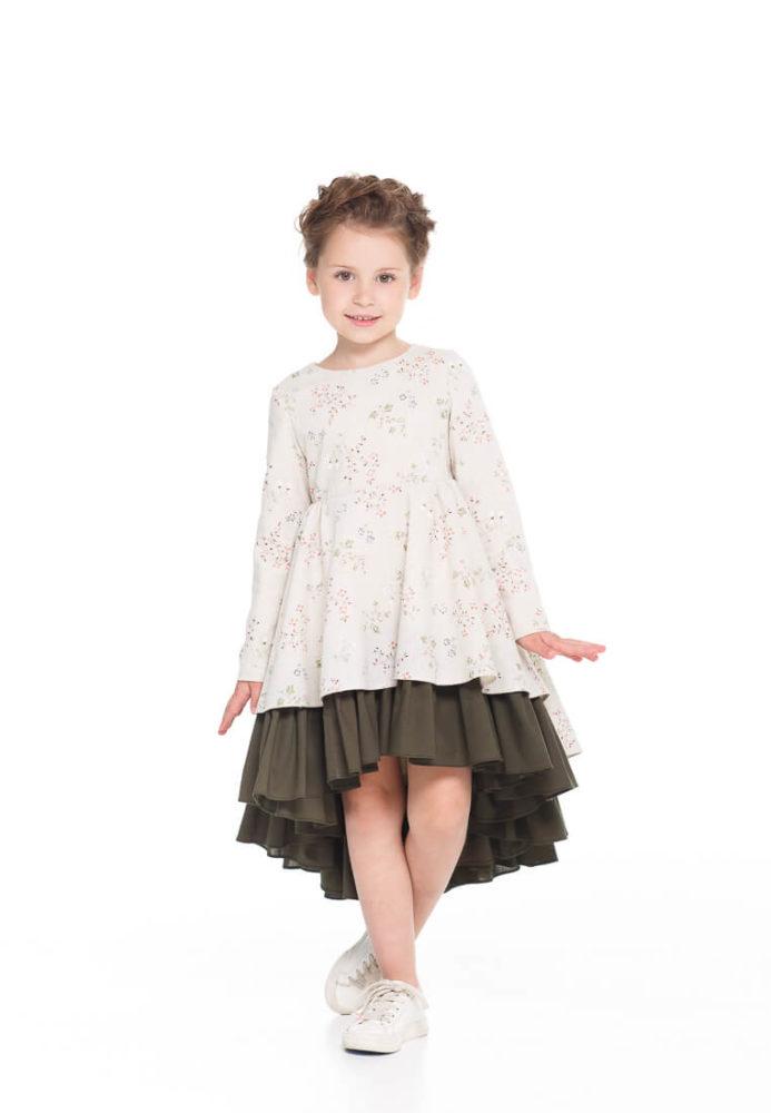 Платье с хлопка на девочку с длинным рукавом