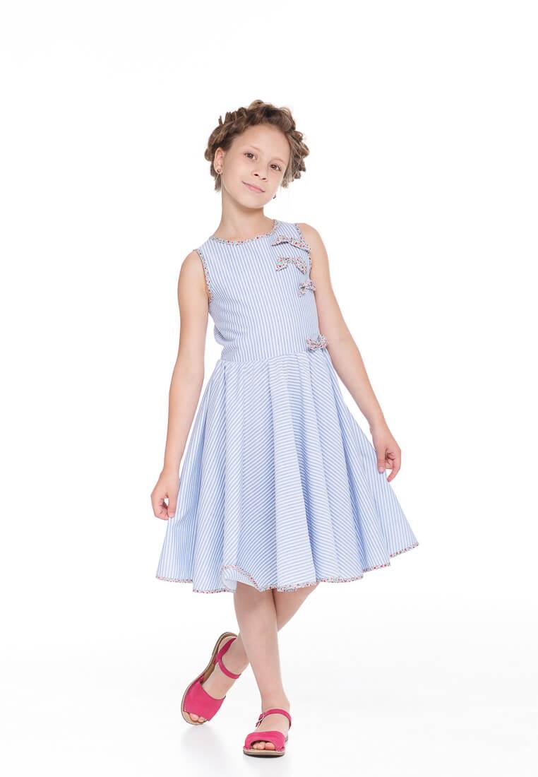 Чарівна літня сукня на дівчинку в блакитну полоску