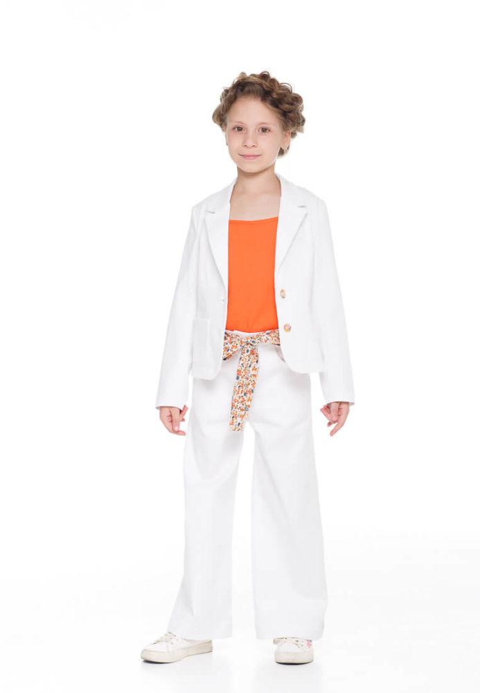 Удобный брючный костюм белый на девочку - в интернет магазине одежды для девочек Malyna