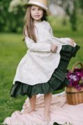 платье на длинный рукав на девочку - лен, красивый волан
