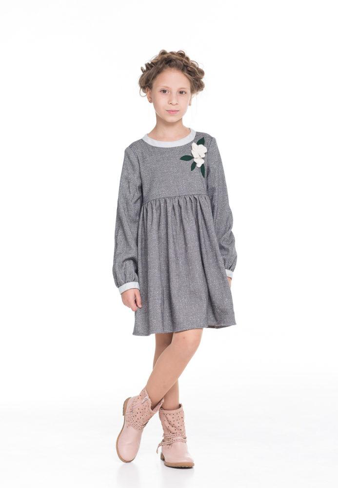 Серое платье на девочку на каждый день весенне-осеннее
